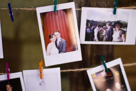 wedding clothesline polaroids