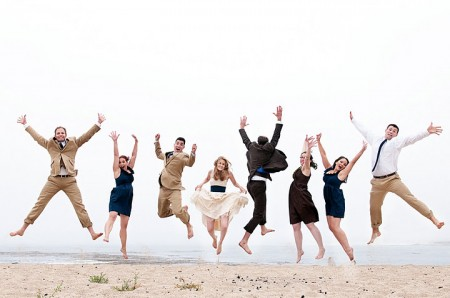 indie wedding party jump
