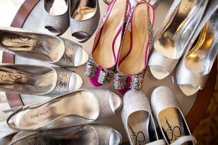 silver glittery wedding shoes