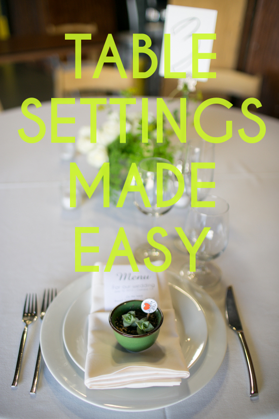 Get sh t done how to set a table a practical wedding for Simple table setting